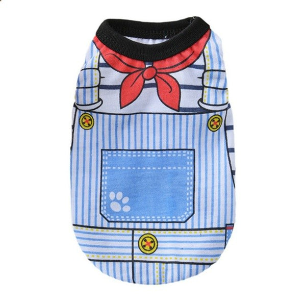 Cute Pet Puppy Winter Vest Small Dog Cat Dogs Clothing Cartoon Printed Cotton T Shirt Apparel Clothes Dog Shirt For Small Dogs H