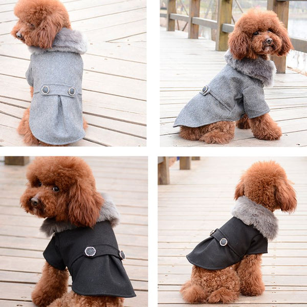 Solid Puppy Apparel Hoodies Pet Dog Winter Warm Cloth Woollen Coat with Fur Collar for Autumn Winter Pet Dog Winter Costume