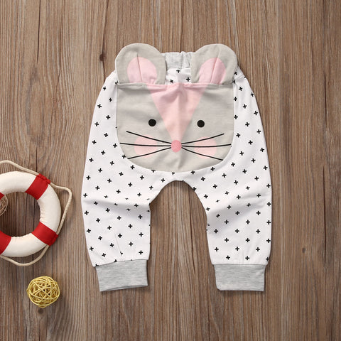 Brand New Lovely Newborn Baby Boys Girls Cartoon Pants Bottom Harem Pants Elk Cat Bear Animal Cute Pats Casual Clothes