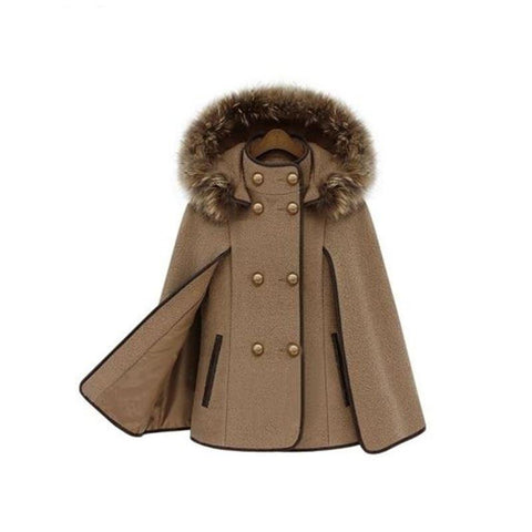 Europe And America Fashion Hooded Detachable Fur Collar Shawl Coat Winter New Women 'S Cloak Camel Wool Jackets Coat Female