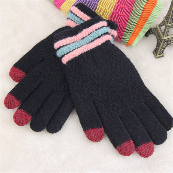 Winter Knitted Gloves Women Touch Screen Gloves Female Mittens Elk  Keep Warm Female Winter Full Finger Gloves Fashion Autumn