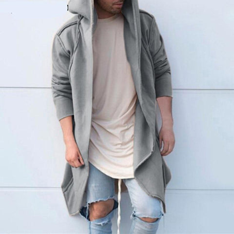 Fashion Men Cardigan Sweatshirts Hoodies Long Sleeve Mantle Hoody Long Irregular Hem Loose Fit Hoody Autumn Hiphop Hombre Black