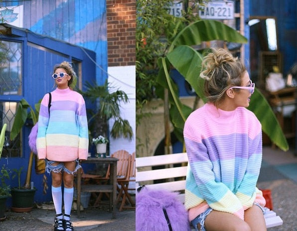 Rainbow Sweater Women Pullover Knitted style Kawaii Jumper Loose Oversized Turtleneck Top 2019 Autumn C0-AG95