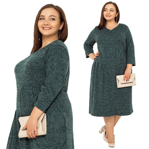 Autumn Winter plus size dress big large size office dress solid loose casual dress women pockets Vestidos Roupas