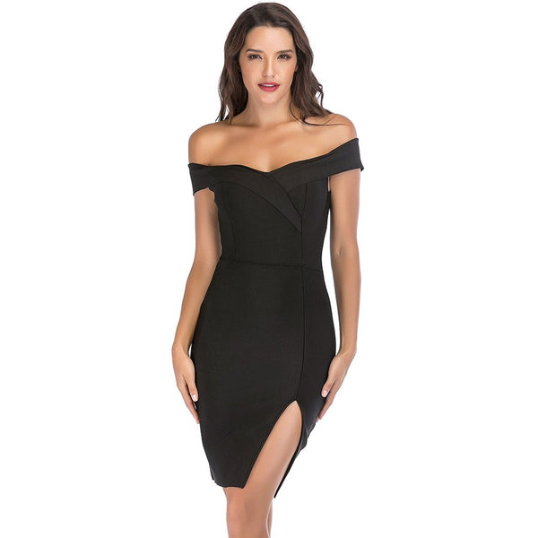 Off Shoulder Bandage Dress Women 2018 Summer Fashion Black White Red Dresses With Open Slit Celebrity Party Bodycon Short Dress