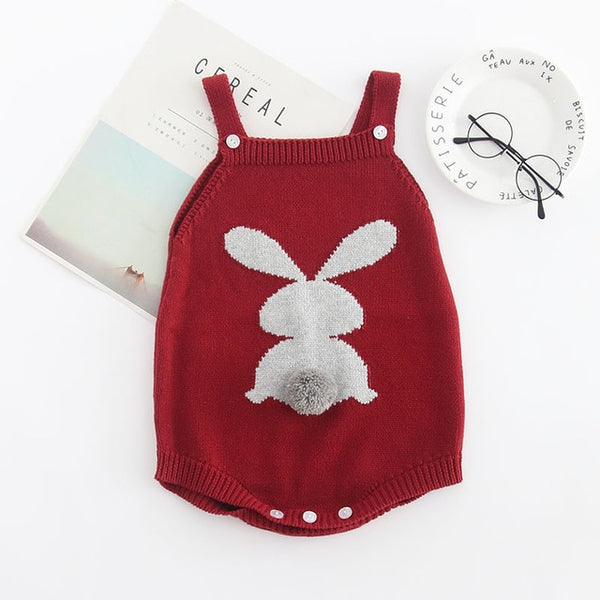 Cute Rabbit Knit Rompers Children's Winter Baby Girls Sleevless Rompers Outfit Clothes Toddler Newborn One-Pieces Jumpsuit