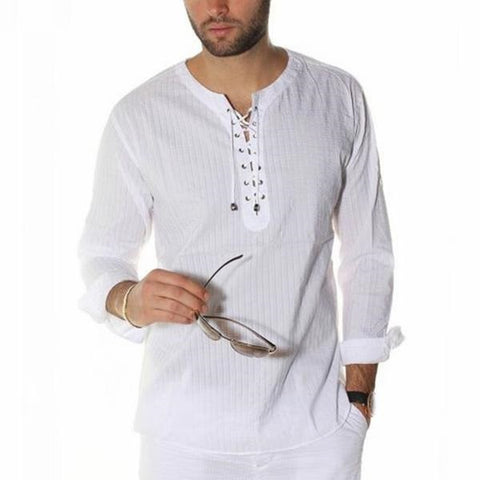 INCERUN Plus Size S-3XL Men Casual Shirts Long Sleeve Solid Lace Up Tunic Tops Men Vintage Slim Male Blouse Chemise 2019 Autumn