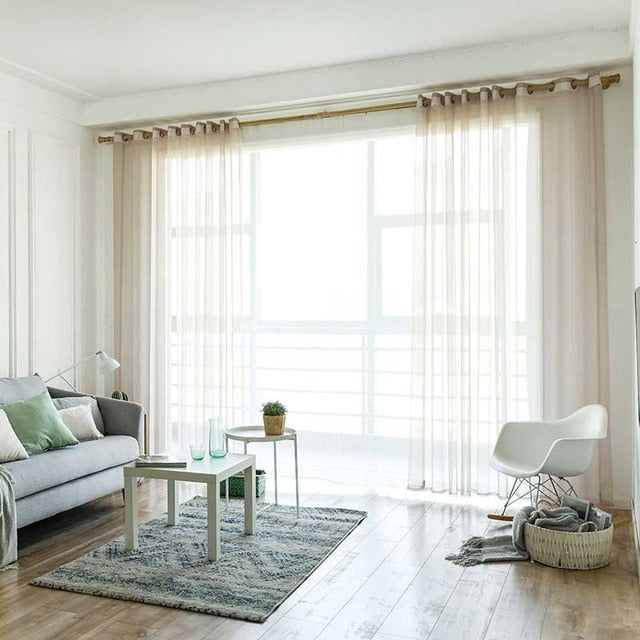 ENHAO Simplicity Solid Modern Tulle Curtains for Living Room Bedroom  Kitchen Window Voile Sheer Curtain for French Window drapes