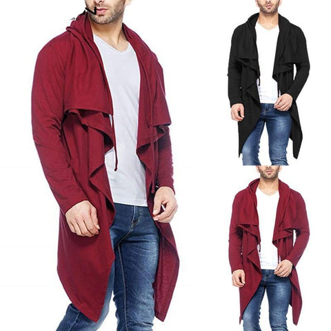 Men Trench Coat Long Cardigan Hooded Long Sleeve Irregular Hem Male Outerwear Casual Fashion Windbreaker Streetwear 2018