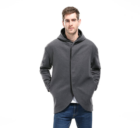 Mens Windproof Trench Coat Long Hooded Woolen Coat Winter Brand New Fashion Solid Color Warm Male Hooded Trench
