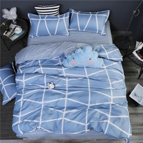 Home bedding 4pcs flat sheet set red heart bed linen set sheet pillowcase&duvet cover set Cute bird child bedclothes leaf cover