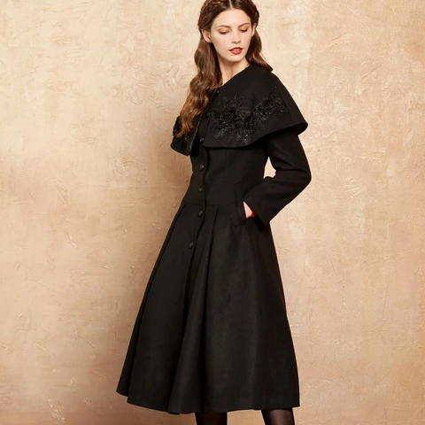 Autumn& Winter 50% Wool Embroidery Dispatch able Shawl Tight Waist Cloak Extra Long Coat
