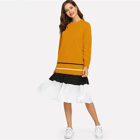 Yellow Striped Ruffle Hem Dresses Women Clothes Autumn Casual Fashion Clothing Long Sleeve Sweatshirt Dress