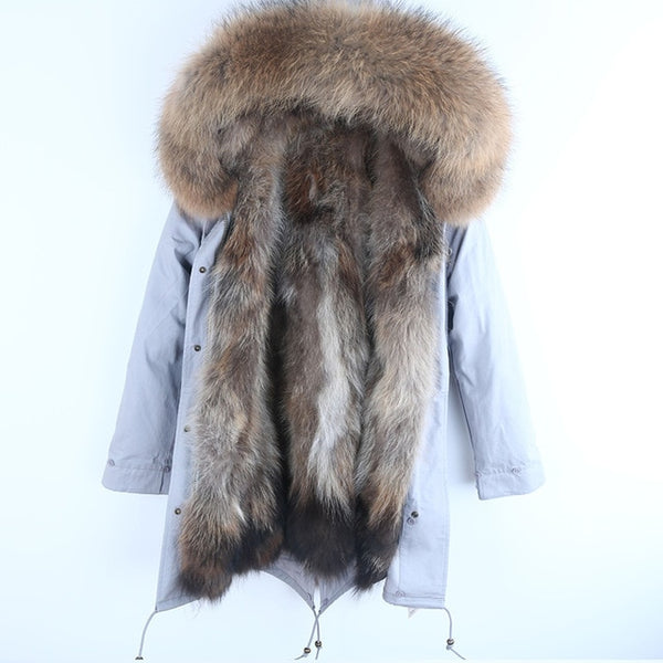 New Real Fur Parka Men Winter Jacket Real Raccoon Fur Hooded Coats Nature Raccoon Dog Lining Jacket Man Real Fur Coat