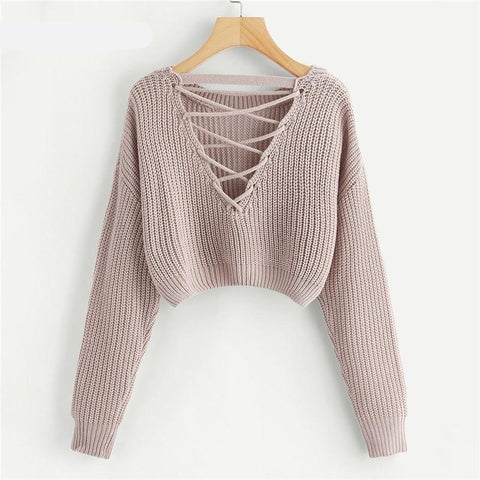 Pink Criss Cross V Back Winter Crop Knitted Sweater Women Clothes Autumn Pullover Jumper Ladies Sweaters