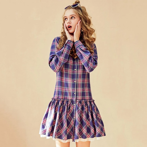 Autumn New Women Casual Cotton Preppy Style A-line Ruffled Lantern Sleeve Plaid Dress