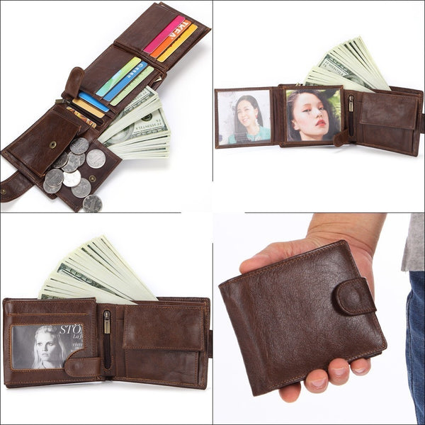 Men Wallet Genuine Leather Short Coin Purse Fashion Hasp Wallet For Male Portomonee with Card Holder Photo Holder