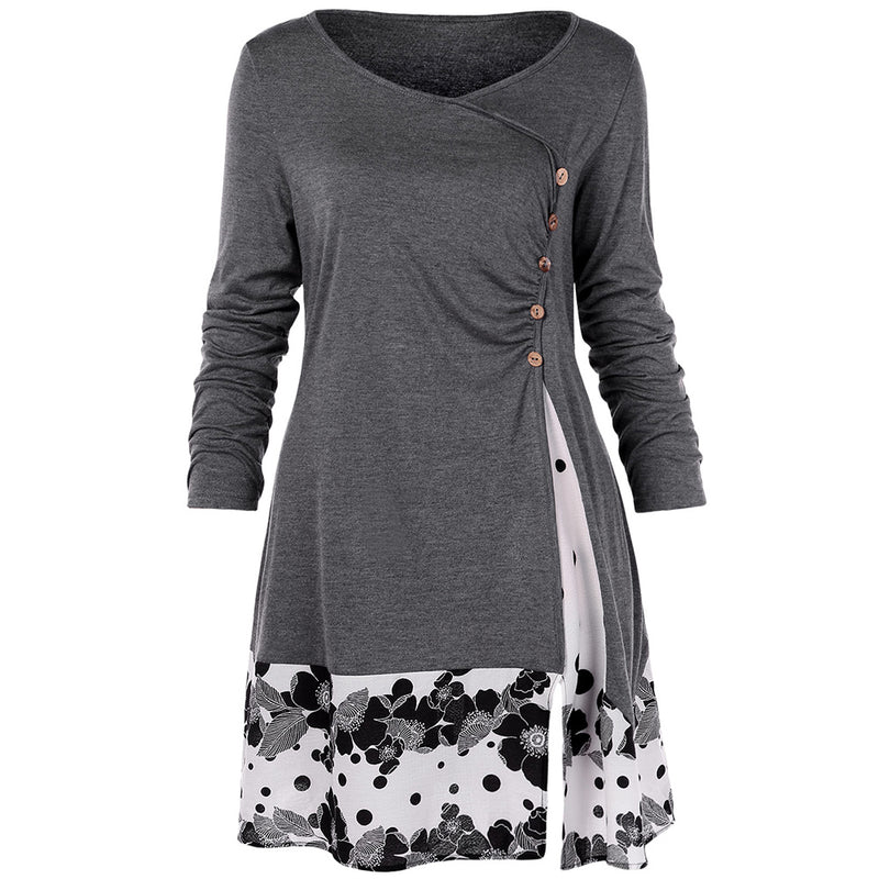 Draped Floral Long Tunic Shirts Long Sleeve O-Neck Buttons Embellished Women Blouse Casual Autumn Tops Tee