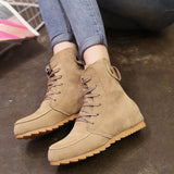 New Winter Women Boots Short Martin Boots Flock Flat Platform Casual Shoes Woman Fashion Lace-up Non-slip Plus Size