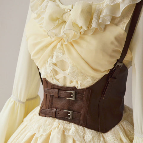 Vintage Women's Corset Vest Steampunk Harness Stretchy Waistcoat Wide Cincher with Buckle