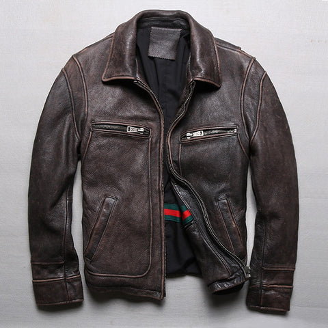 New Men Retro Vintage Brown Genuine Leather Jacket Fashion Motorcycle Jackets Thick Cowhide Winter Coats S-5XL