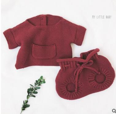 ec9acf61e830 ... Autumn Baby knitted clothes Set Infant Newborn Baby Girl Cardigan Boys  Sweater Cotton Baby Jumpsuit For