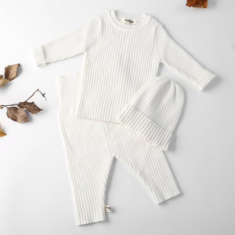 3pcs/set Autumn Winter Baby Girl Clothes Knit Ribbed Sweater Boys Sweaters Pants Hats Bottoming Shirt Children's Clothing 0-3Y