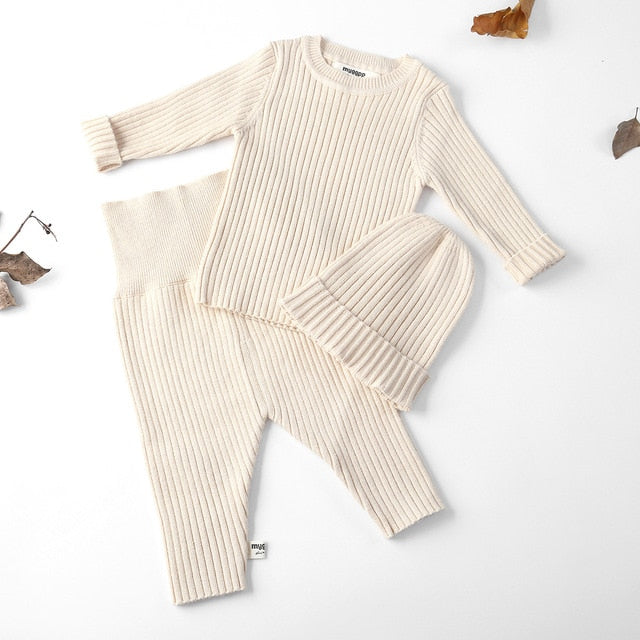 9c2b3be69404 3pcs set Autumn Winter Baby Girl Clothes Knit Ribbed Sweater Boys ...