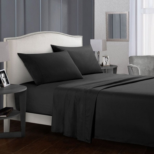 Bedding Set Soft Bed Linens Flat Sheet+Fitted Sheet+Pillowcase Queen/ King Size Gray comfortable white Bed sheet set