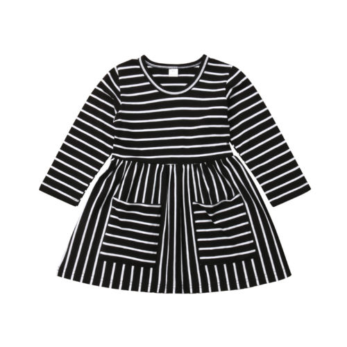 b4a1a01387e4a Newborn Infant Kids Baby Girl Clothing Striped Sleeve Mini Autumn Pocket  Party Pageant Prom Dresses Clothes Girls 1-6T