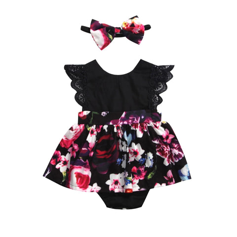 Newborn Baby Infant Girl Romper Tutu Dress Headband Floral Outfits Party Dress