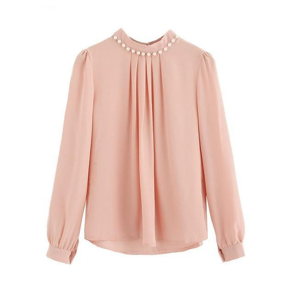chiffon Blouse Women High Neck Female Tops and Blouses Autumn Winter Long Flare Sleeve Pearl Beaded L2735