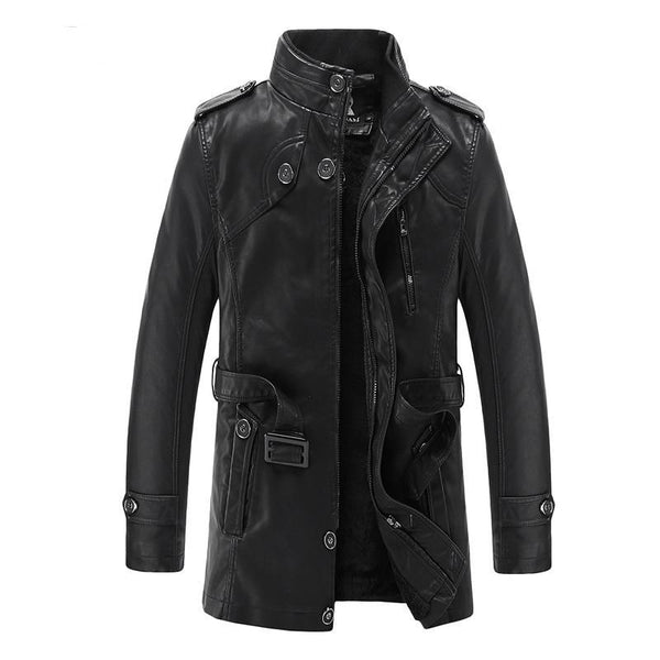 Winter Warm Faux Leather Jacket Casual Slim Long Trench Coats Men Leather Coats For Man Autumn High Quality 321