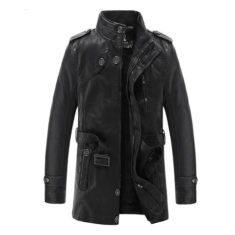 e36007123f5 Winter Warm Faux Leather Jacket Casual Slim Long Trench Coats Men Leather  Coats For Man Autumn