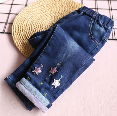 Baby Girl Jeans Fleece Worm Appliques Stars Fashion Girl Pants Denim Girls Clothes Kids trousers children clothes