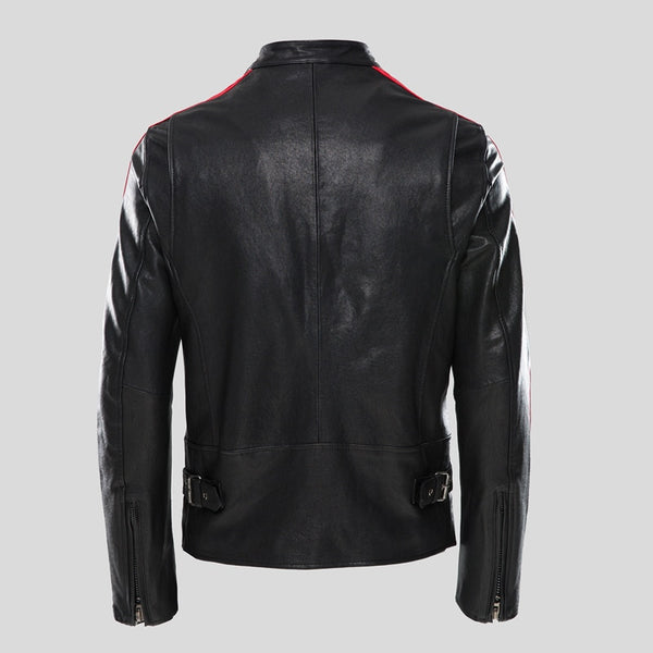 New Men's Genuine Motorcycle Leather jacket Stand Collar Casual Vegetable tanning black Sheepskin Short Biker Jackets