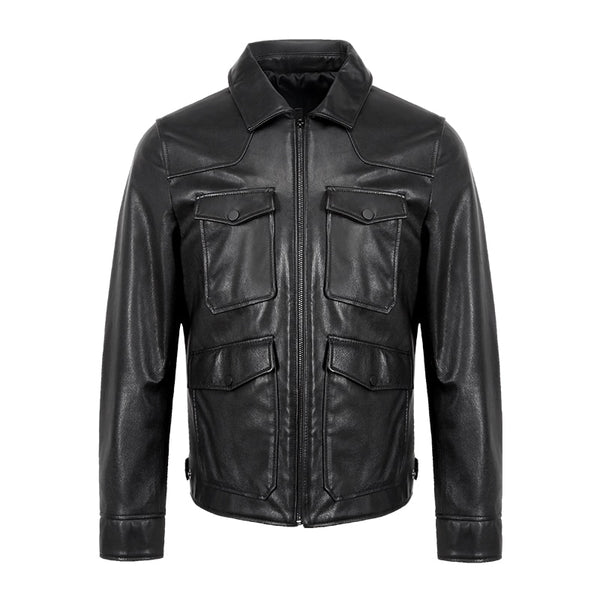 Free shipping.man classic sheepskin Jackets,men's genuine Leather jacket.fashion casual slim coat plus size clothes winter