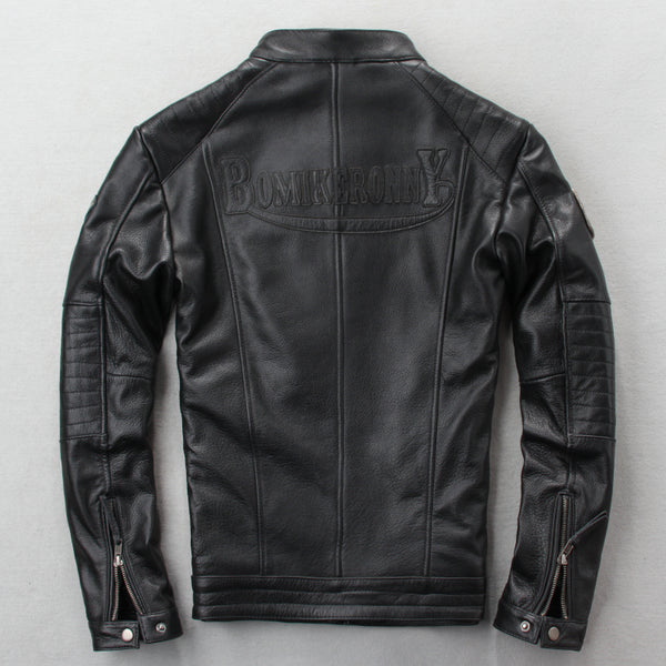 New Men Cow Leather Jacket Fashion Genuine Appliques Letter Cowhide Jackets S-4XL Motorcycle Biker Coats
