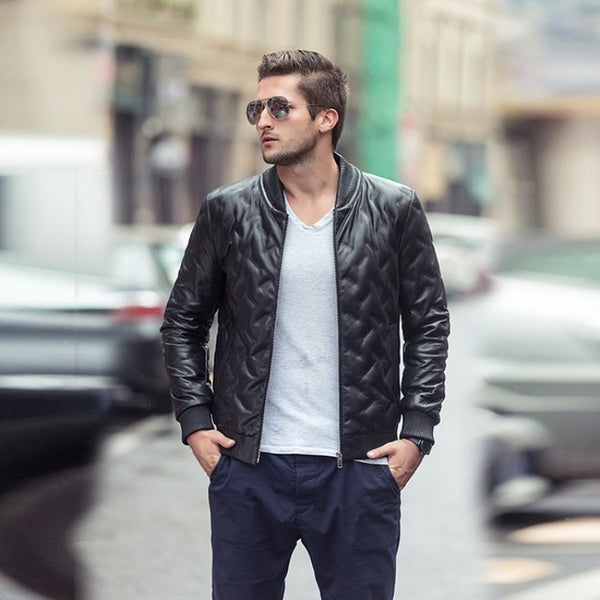 New Genuine Leather Jacket For Men Winter Male Biker Jacket Black Leather Coat Zip Blouson Moto Homme Sheepskin Coat Men M-XXL
