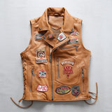 New Men Rock Cow Leather Vest Jacket Punk Multi Labeling Cowhide Motorcycle Vests M-4XL
