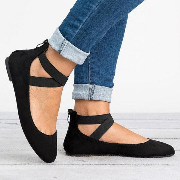 Autumn Flat Shoes Women Fashion Faux Suede Flat Heel Shoes for Ladies Elastic Band Shoe Rome Style Flats Casual Footwear