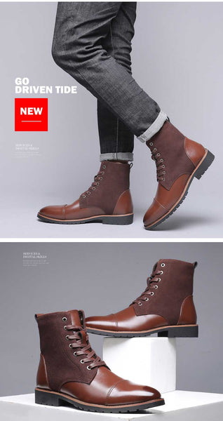 Winter Men Snow Boots Warm Men Boots Pointed Toe Winter Casual Leather Shoes Men Chelsea Boots