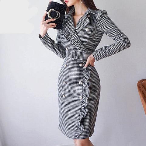 New Women Slim Plaid Trench Dresses Notched Double Breasted Ruffles Bodycon Blazer Dress With Belt Elegant Office Lady D86003F