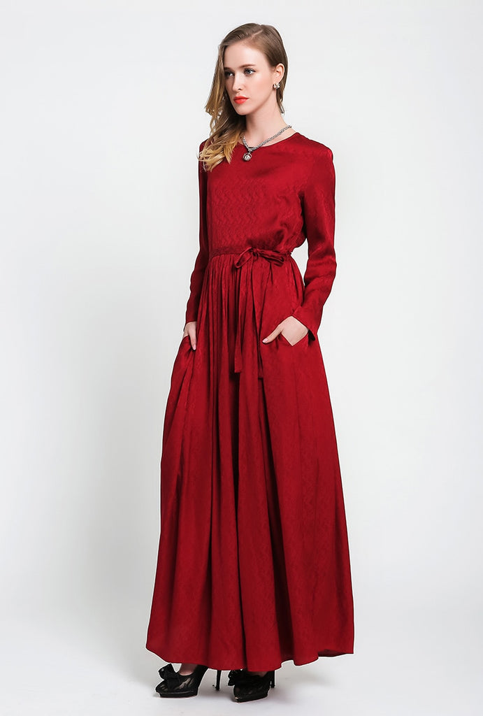 a212edffbff Autumn Red Long Sleeve Silk Maxi Dress Brief Casual Tunic Lace Up Plus