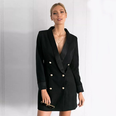 Elegant double breasted long women coat black Autumn winter coat formal office ladies jackets slim suit coats  571