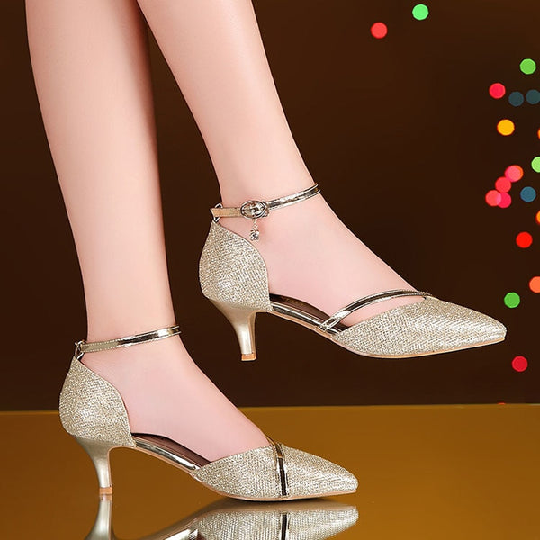 high heels shoes woman sexy pumps women ankle strap shoes crystal pumps gold silver pointed stilettos shoes for women