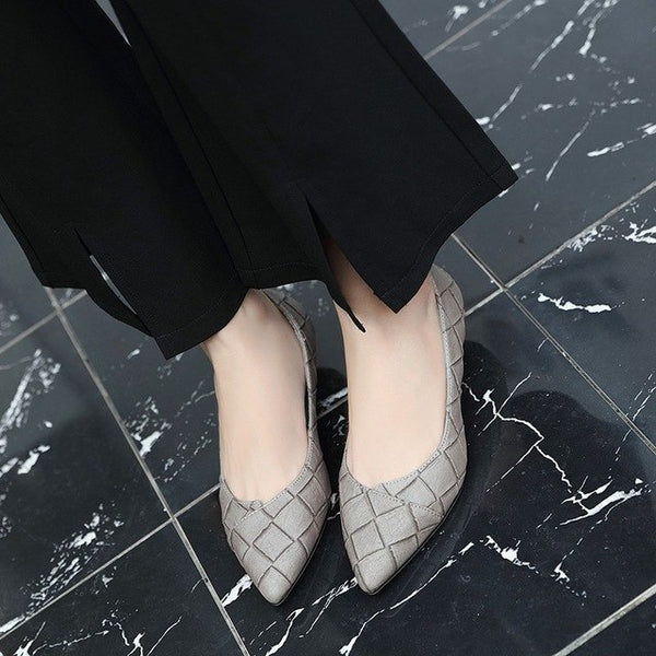 Autumn Women Retro Low Heels Shoes Woman Fashion Pointed Toe Shallow Sexy Female Party Wedding Med Heels Pumps 35-42