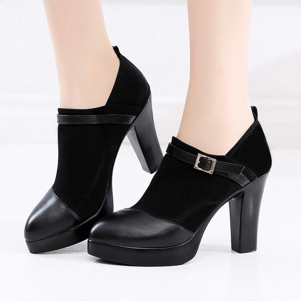 Block Heels Deep Platform Pumps Women Shoes Autumn High Heel Shoes  Flock Patchwork Office Shoe