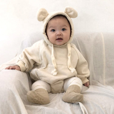 winter Baby Bodysuits Cute Little Bear Ears Plus Velvet Clothing Baby Girl Clothes Children Pink Bodysuit Loose hood Jacket top