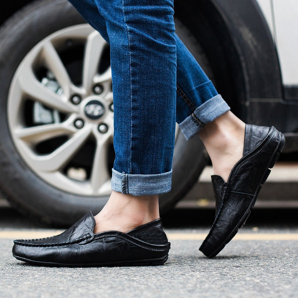 Men Shoes Casual Genuine Leather Mens Loafers Moccasins Designer Slip On Boat Shoes Classical Chaussure Homme Size 38-46